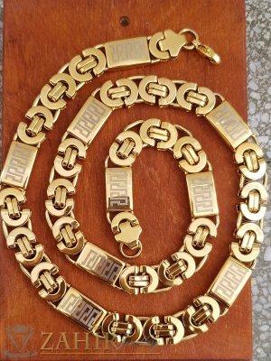 Стилен стоманен позлатен ланец римска плетка с гравирани плочки, дълъг 55 см, широк 0,8 см - ML1514