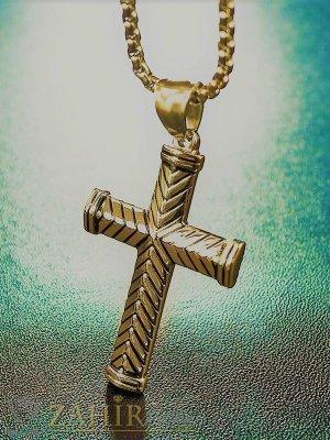 Елегантен позлатен стоманен кръст 4 см с красива гравирока на стоманена верижка в 4 размера, широк 0,4 см - ML1515