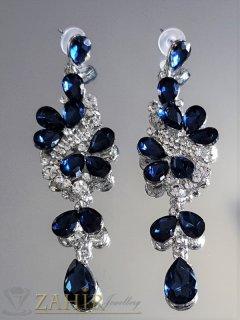 Тъмносини кристални официални обеци 9 см, изящна изработка, сребрист или златист обков, на винт - O2557