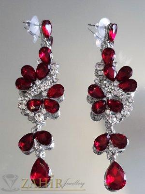 Тъмночервени кристални официални обеци 9 см, изящна изработка, на винт - O2558