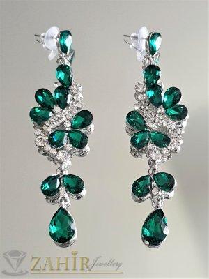 Тъмнозелени кристални официални обеци 9 см, изящна изработка, на винт - O2561