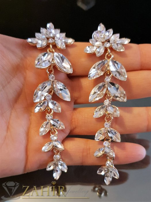Прозрачно бели кристални луксозни обеци 9 см, със златно покритие, на винт - O2564