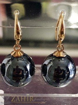 Черни седефени перлени обици 3 см с голяма 1,5 см перла, позлатени, на кукичка - O2576