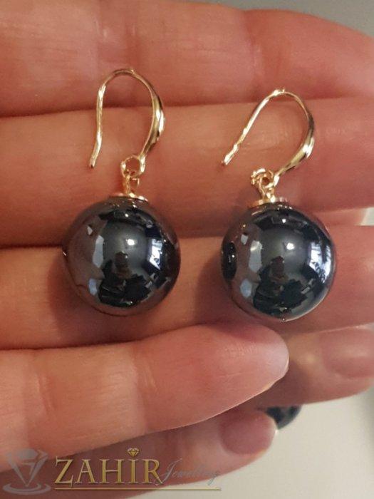 Дамски бижута - Черни седефени перлени обици 3 см с голяма 1,5 см перла, позлатени, на кукичка - O2576