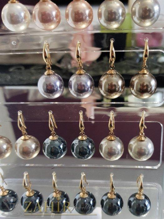 Дамски бижута - Бледорозови перлени обици 3 см с голяма 1,5 см перла, позлатени, на кукичка - O2577