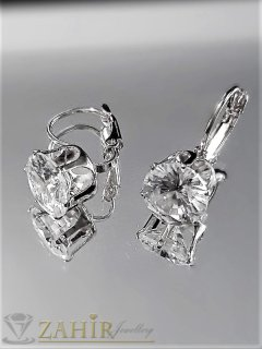 Прозрачно бял фасетиран циркон на класически модел обеци 2 см, сребристи - O2583
