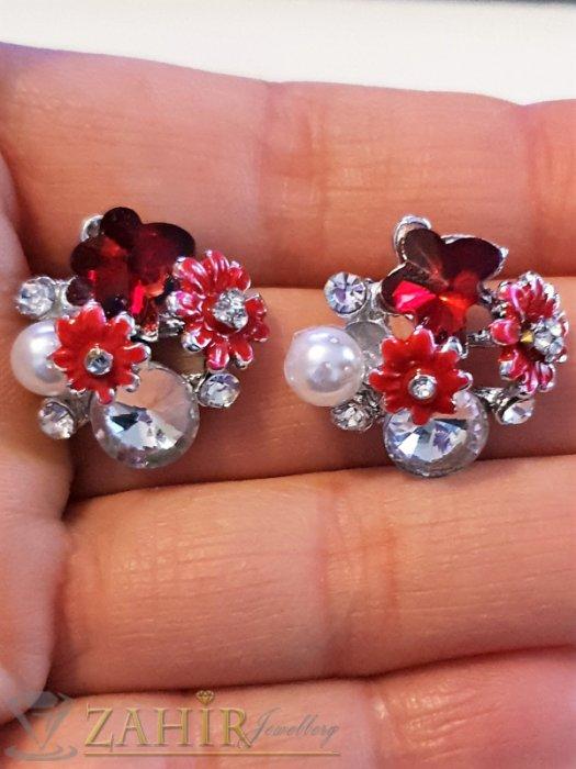 Дамски бижута - Червени цветчета, прозрачни кристали и перла на обеци, сребърно покритие, на винт - O2589