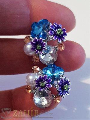 Виолетови цветчета, цветни кристали и перла на обеци, сребърно покритие, на винт - O2591