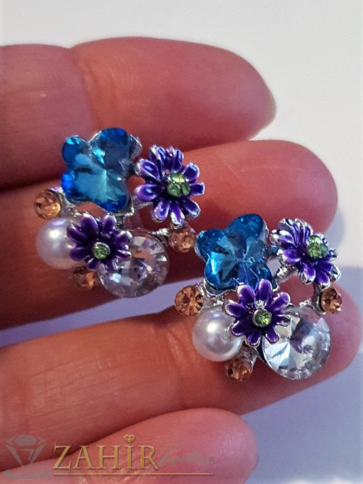Дамски бижута - Виолетови цветчета, цветни кристали и перла на обеци, сребърно покритие, на винт - O2591