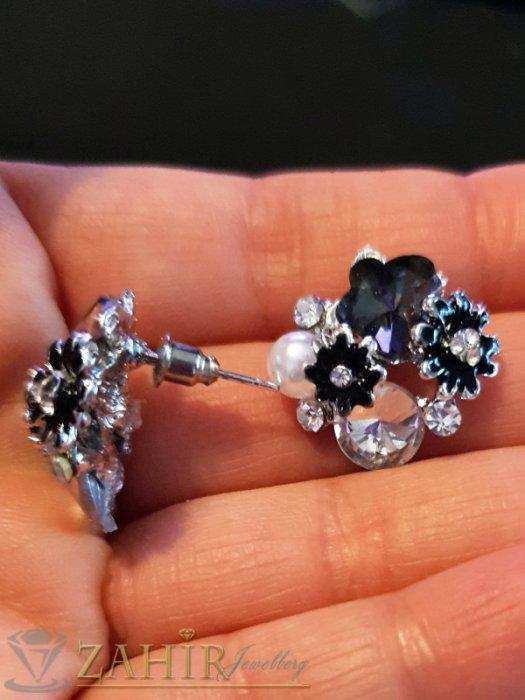 Дамски бижута - Черни цветчета, бели кристали и перла на обеци, сребърно покритие, на винт - O2592