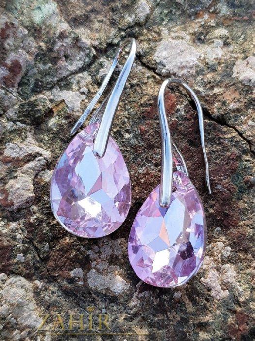 Класически висящи обеци 3 см с фасетиран бледорозов кристал 1,5 см във форма на капка, сребристи - O2595