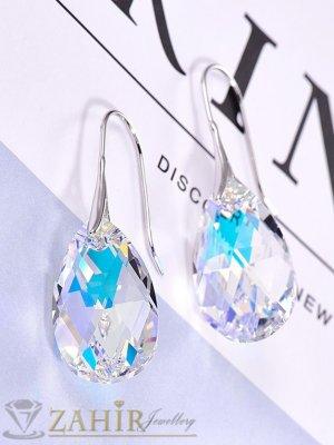 Прозрачно бели висящи обеци 3 см с фасетиран кристал 1,5 см във форма на капка, сребристи - O2598