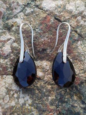 Черни висящи обеци 3 см с фасетиран кристал 1,5 см във форма на капка, сребристи - O2600