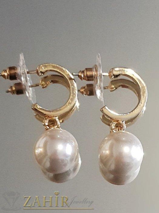 Пленителни бяли перлени висящи обеци 3 см с перла 1 см, златно покритие на винт - O2603