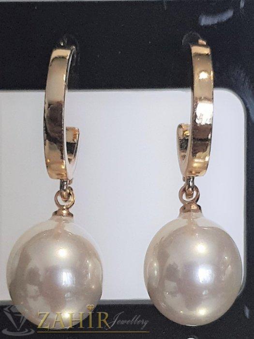 Дамски бижута - Пленителни бяли перлени висящи обеци 3 см с перла 1 см, златно покритие на винт - O2603
