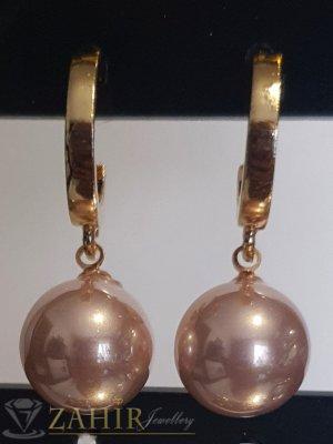 Бледорозови перлени висящи обеци 3 см с перла 1 см, златно покритие на винт - O2604