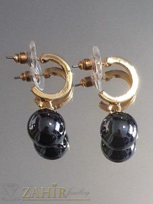 Черни перлени висящи обеци 3 см с перла 1 см, златно покритие на винт - O2605