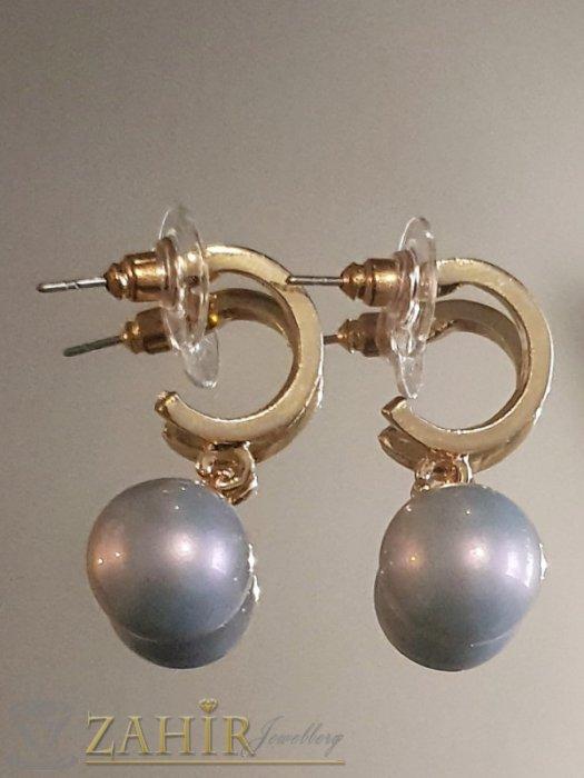 Дамски бижута - Бледосини перлени висящи обеци 3 см с перла 1 см, златно покритие на винт - O2608