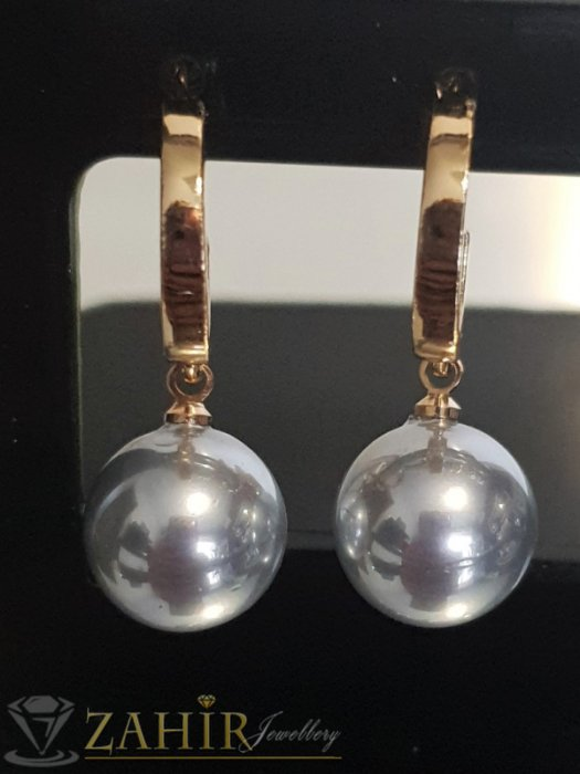 Гълъбово сиви перлени висящи обеци 3 см с перла 1 см, златно покритие на винт - O2610