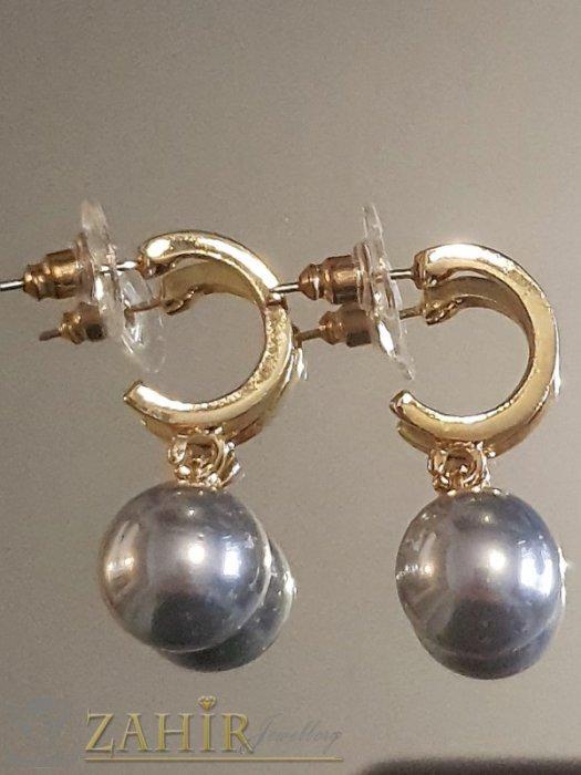 Дамски бижута - Гълъбово сиви перлени висящи обеци 3 см с перла 1 см, златно покритие на винт - O2610
