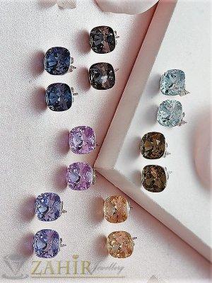 10 цвята голям фасетиран цветен циркон 1 см на стоманени обици на винт - O2612