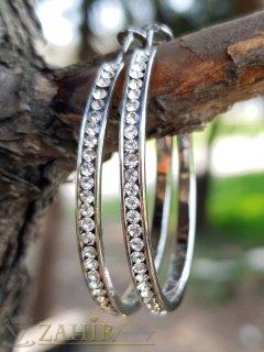 Изящни халки 4 см изцяло с нежни бели кристали, сребърно покритие, английско закопчаване - O2614