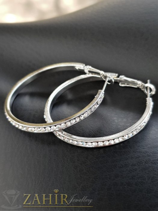 Дамски бижута - Изящни халки 4 см изцяло с нежни бели кристали, сребърно покритие, английско закопчаване - O2614