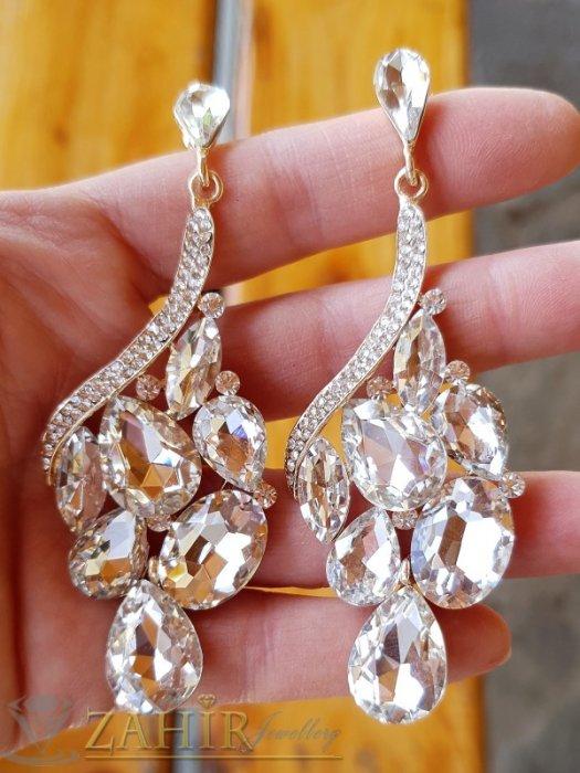 Великолепни висящи обеци 8 см с блестящи бели кристали, позлатени, на винт - O2631