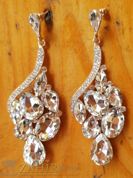 Дамски бижута - Великолепни висящи обеци 8 см с блестящи бели кристали, позлатени, на винт - O2631