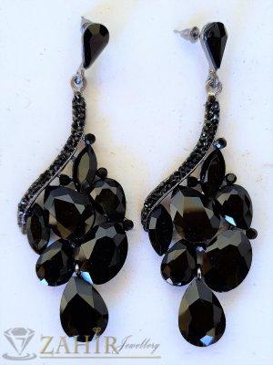Впечатляващи висящи обеци 8 см с блестящи черни кристали, на винт - O2632