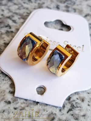 Малки стоманени позлатени халки 1,5 см с светлосини кристали - O2633