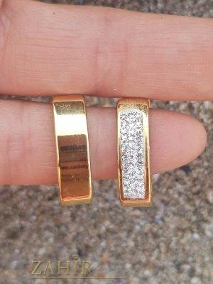 Класически малки двустранни халки 2 см, с бели кристали, английско закопчаване, позлатена стомана - O2642