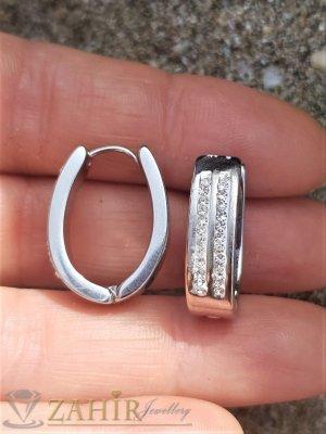 Класически малки двустранни халки 2 см, с бели кристали, английско закопчаване, висококачествена стомана - O2643