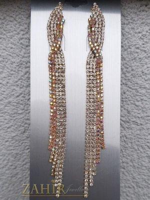Изумително красиви официални обеци дълги 12 см с бели и холографни кристали , златно покритие, на винт - O2644