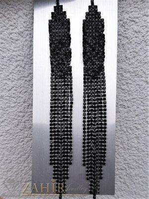 Уникално красиви официални обеци дълги 12 см с черни кристали , сребърно покритие, на винт - O2645