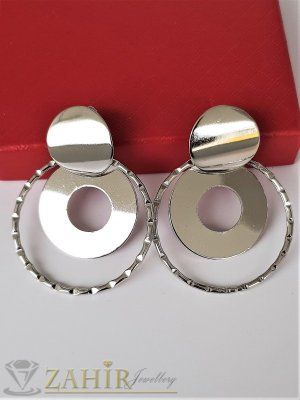Актуални модни обеци с посребрени полирани овали с размери 5 на 4 см, закопчаване на винт - O2654