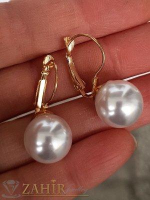 Най-харесваният модел перлени обеци 3 см  с перла 1,3 см, златно покритие, френско закопчаване - O2655