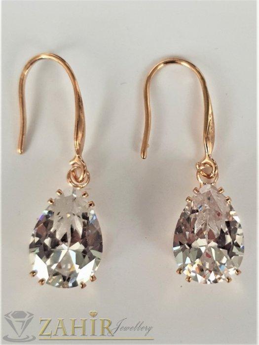 Дамски бижута - Великолепен фасетен кристал капка 1,3 см на висящи позлатени обеци 3 см,класически модел - O2656