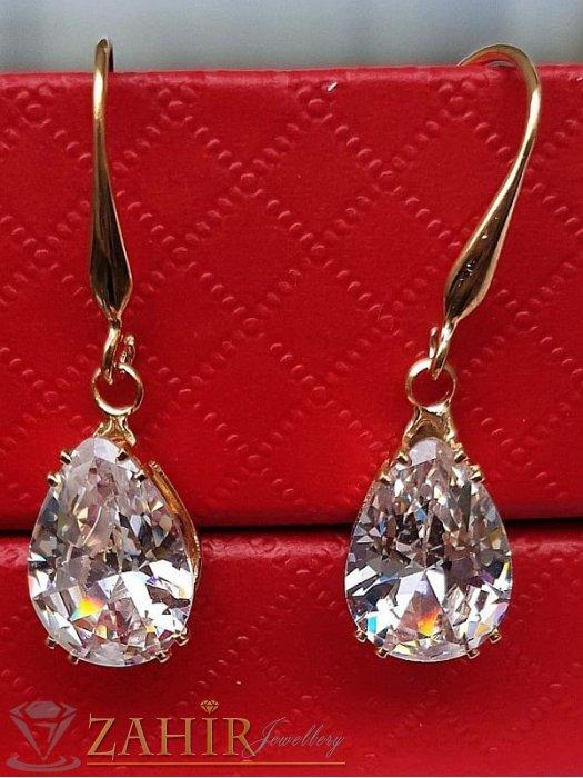 Великолепен фасетен кристал капка 1,3 см на висящи позлатени обеци 3 см,класически модел - O2656