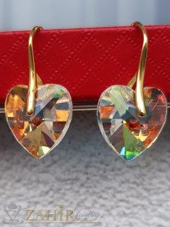 Прекрасни холографни кристални сърца 1,5 см на златисти обеци 3 см, високо качество - O2658