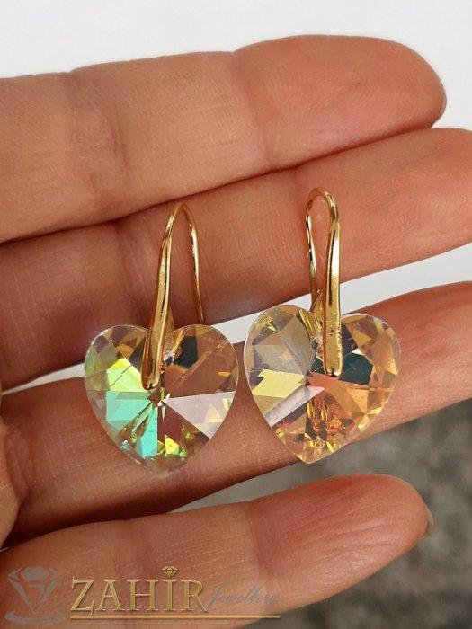 Дамски бижута - Прекрасни холографни кристални сърца 1,5 см на златисти обеци 3 см, високо качество - O2658