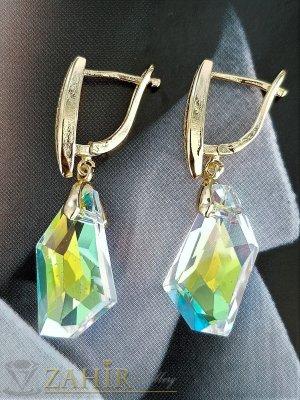 Изящни холографни кристали  2 см на златисти обеци 4 см, високо качество, английско закопчаване - O2659