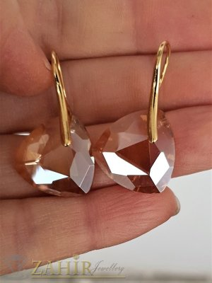 Фасетирани кехлибаренозлатисти кристали  1,8 см на позлатени обеци 3,5 см, високо качество - O2661