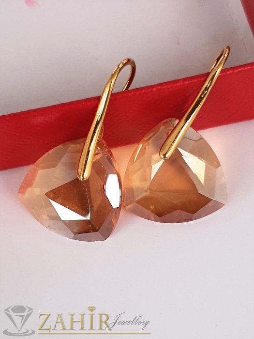 Дамски бижута - Фасетирани кехлибаренозлатисти кристали 1,8 см на 2 цвята обеци 3,5 см, високо качество - O2661