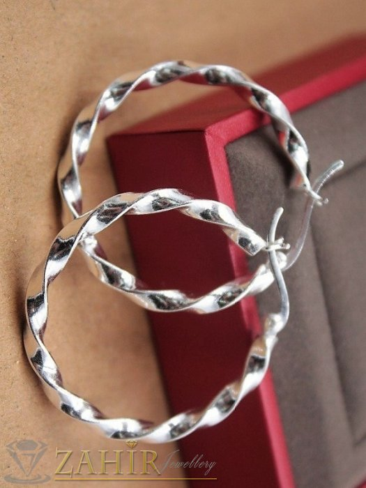 Дамски бижута - Елегантни спираловидно завити стоманени халки 5 см,олектотени, английско закопчаване - O2663