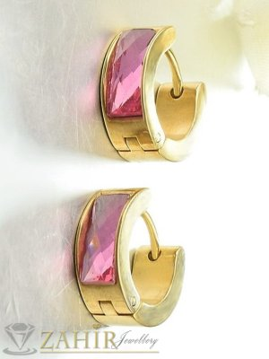 Малки стоманени халки 2 см с 2 лица, изчистени или с розови кристали, златно покритие - O2664