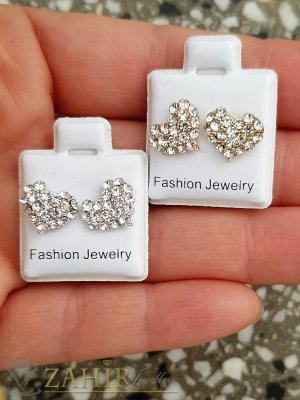 Много нежни обеци сърца 1 см с бели кристалчета в златно или сребърно по избор, закопчаване на винт - O2667
