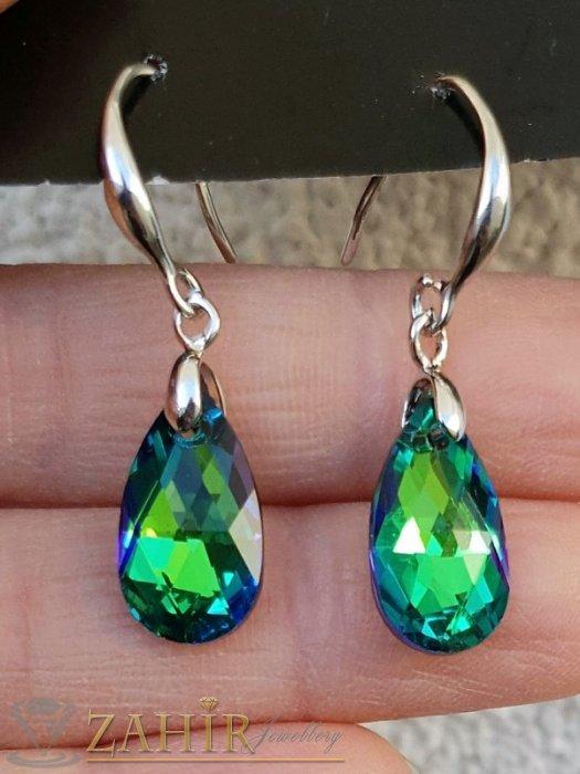 Зелени преливащи кристални капки 1,5 см на стоманени обеци 3,5 см, закопчаване на кукички, супер актуален модел - O2673