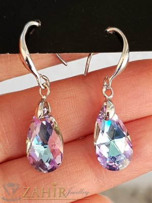 Розови преливащи кристални капки 1,5 см на стоманени обеци 3,5 см, закопчаване на кукички, супер актуален модел - O2675