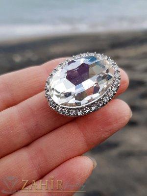 Огромен бял фасетиран кристал 3 на 2 см на регулиращ се сребрист пръстен - P1496